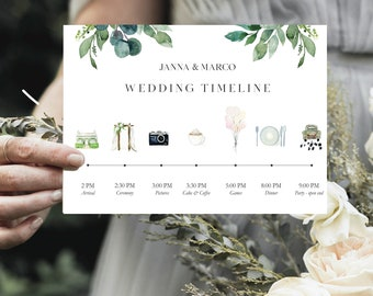 Birthday Program, Timeline Design, Wedding Day Timeline, Leafs, Schedule of Events, Editable Order of Events (in your own language) #024