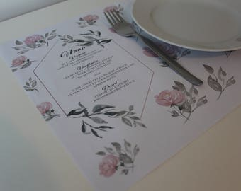 Menu Placemat! One of a kind, print yourself!
