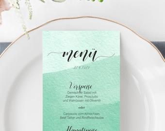 Watercolour Menu Card, print yourself, rectangular menu, greenery menu template, DIY Wedding Menu Template , Buffet menu in green #024