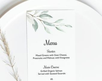 Greenery Menu Card Template, Dinner Menu for event, Wedding Menu Design, Custom brunch menu in your language, eucalyptus menu card #024