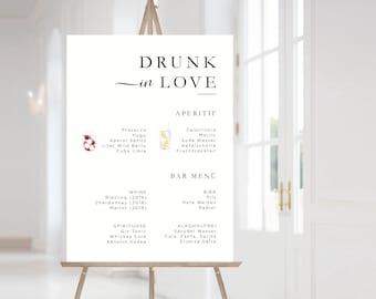 Drunk in Love Printable Bar Menu Template Signature Cocktails Sign Drinks Menu Download Elegant Wedding Bar Sign Signature Drink Sign
