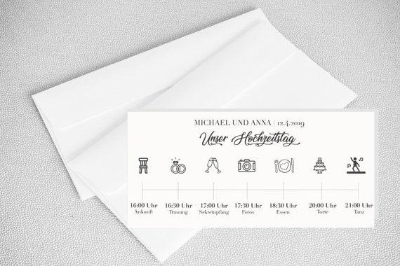 Personalisiertes Programm Tagesablauf Hochzeit Mit Bildchen Etsy