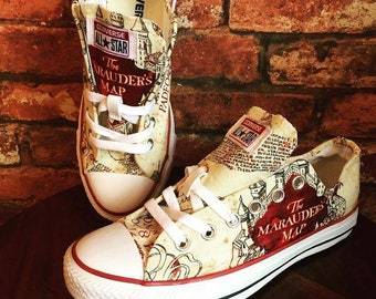9cb995ae94e3 Harry Potter inspired Marauders Map Converse Shoes - Trainers - Harry Potter  Shoes - Mens - Women's - Children's
