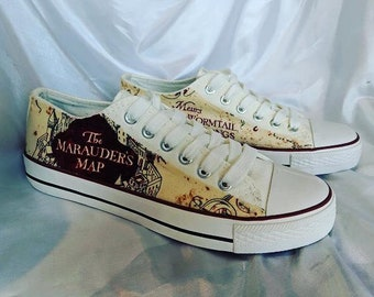 f170441438e2 Harry Potter Inspired Marauders Map Shoes - Trainers - Mens - Women s -  Children s