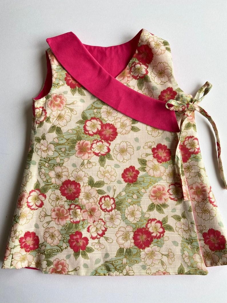 pinkgold and fuchsia sakura reversible dress 12 months
