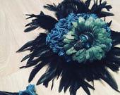 Skulled bouquet, teardrop bridal flowers, skulls, teal, tuquoise, alternative wedding, goth wedding, halloween, goth bride