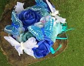 Butterfly bouquet, butterflies, themed wedding flowers, home decor, alternative wedding, butterfly bridal bouquet, blue artificial flowers