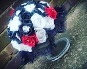 Large round skulled bridal bouquet, alternative wedding, skulls, goth bride, alternative bride, unique theme, bridal flowers, custom made