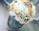 Beach flowers, bridal flowers, sea shells, mermaid wedding, alternative wedding, ocean theme