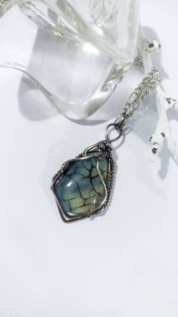 Sterling Silber Halskette Draht wickeln-Draht gewickelt | Etsy