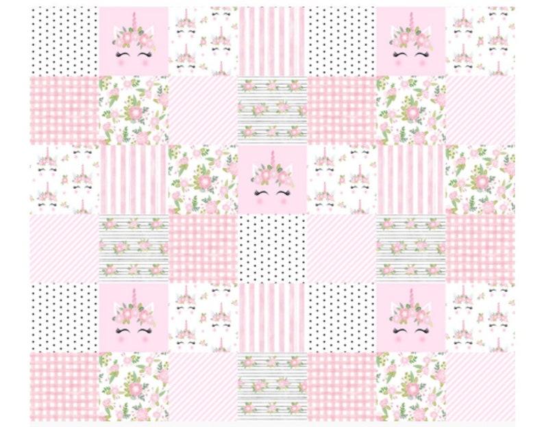 Pink Unicorn Patchwork Crib Bedding Set for girl