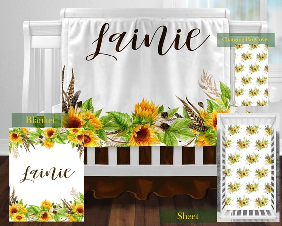 Personalized Sunflower Crib Bedding Set, Sunflower Crib Bedding