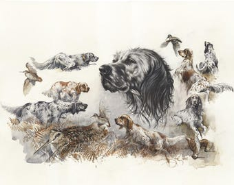 """Watercolour print """"English setter"""" by Valery Siurha, english setter, setter, english setter art, english setter dog, english setter gift"""