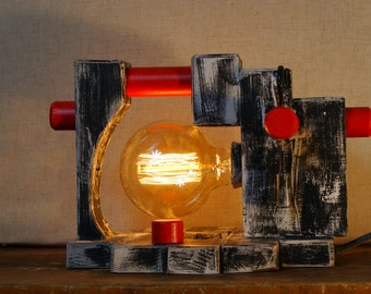 Handmade Rustic Wooden Table Lamp Edison Bulb + Free Gift