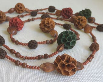 Seed Pod Necklace 1970's 48 inch Long Natural Seed & Bead Jewelry