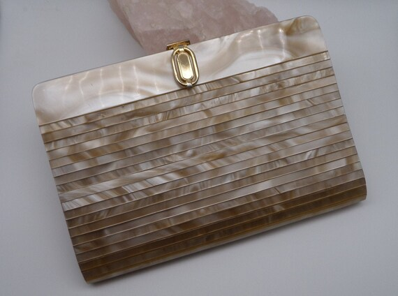 Pearlized Lucite Convertible Clutch Purse, Tan Marbleized Lucite Shoulder Bag With Chain Strap by Etsy