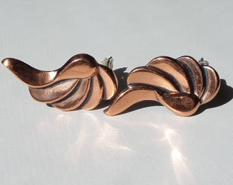 Copper Earrings by Renoir, Abstract Leaf Clip On, 1950's, Mid Century