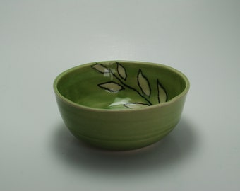 Handmade Ceramic Bowl   Wheel Thrown Pottery Bowl   Hand-Painted Bowl   Celedon Leaf