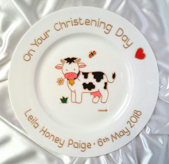 hand painted personalised  baby birth gift plate horse cow sheep farmyard design