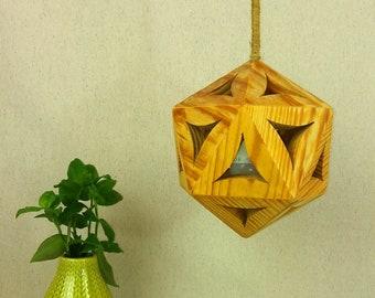 Wooden icosahedron lamp. Handmade.