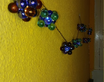 Handmade lamps with marbles and led Garland