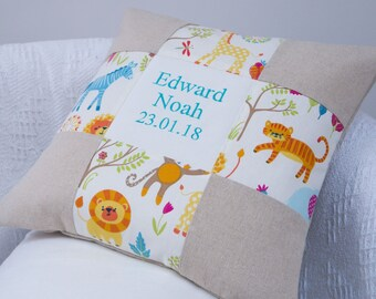 Jungle Name and Date Cushion, jungle animals, jungle cushion, kids cushion, cheeky monkeys, monkeys cushion, personalised cushion, jungle