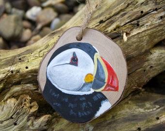 Puffin painting, coastal bird, wildlife art, wood slice painting, wood slice art, sea bird, animal gift, wood decor, miniature art,