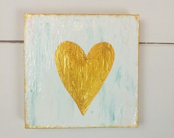 Small Heart Painting, Aqua Coral Gold Shelf Art, Best Friend Gift, Small Housewarming Gift, Tiered Tray Art, Gold Heart Textured Painting