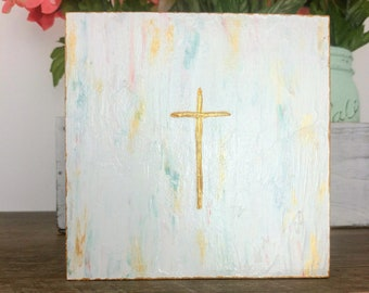 Small Christian Cross Painting, Aqua Coral Gold Shelf Art, Godparent Gift Baptism, Small Housewarming, Christian Baby Gift, Tiered Tray Art