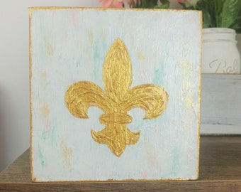 Small Fleur de Lis Painting, Fleur de Lis Art, New Orleans Art, NOLA Decor, Saints Nursery Baby Gift, Fleur-De-Lis Artwork Mardi Gras Art