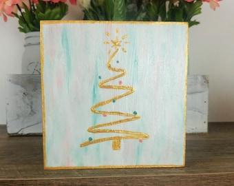 Small Christmas Painting, Aqua Coral Gold Shelf Art, Christmas Tree Shelf Art, Tiered Tray Art