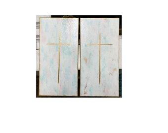 Christian Painting, Christian Cross Art, Gold Cross Painting, Religious Wall Art, Original Canvas Art, Gift from Godparent, Baptism, Nursery
