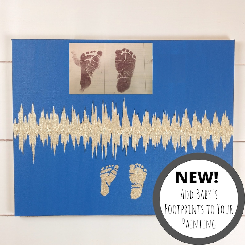 Add Baby Footprints to Heartbeat Painting Baby Footprint Art image 0