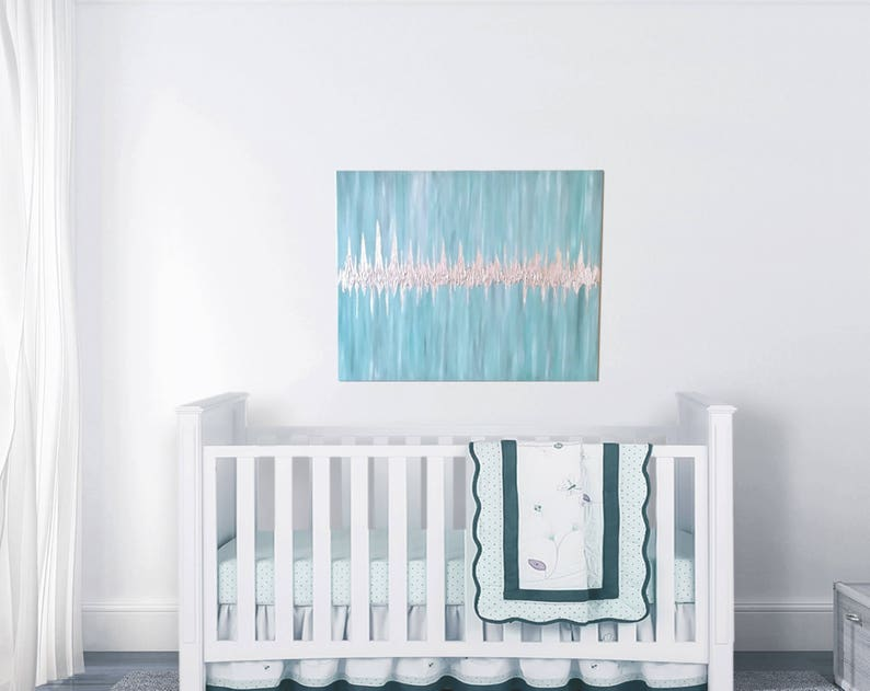 24x48 Nursery Painting Push Present Soundwave Art Pregnancy Teal/Silver