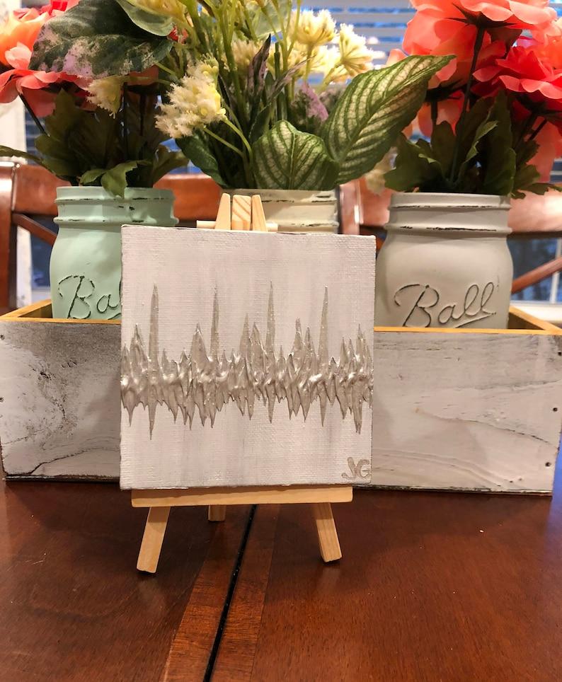 4x4 Mini Canvas Gift for New Grandparents Mini Heartbeat image 0