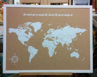 cork board world map cork map pin board world map personalized gift