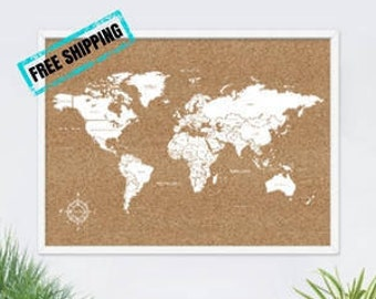 World map pin board etsy cork board world mapcork world mappin board world mapcarte du gumiabroncs Image collections