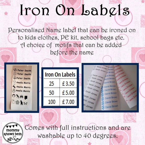 Personalised Iron on name labels  School uniform, PE kit, school bag  personalised name tags  Motif  Back to school kit  FIVER FRIDAY