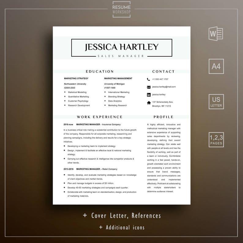 Professional Resume Template - Sample Resume Format - Cover Letter Sample -  1 page resume - 2 page resume - 3 page resume - CV