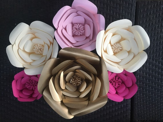 Pink gold and ivory paper flowers baby shower paper flower etsy image 0 mightylinksfo