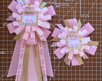 Princess Corsage   Its a Girl Corsage    Mommy to be Corsage   Daddy to be Corsage    Gold Baby Shower Corsage    Princess Baby Shower