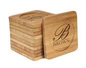 Personalized Custom Engraved Bamboo Coasters - Simple Monogram Thick Script