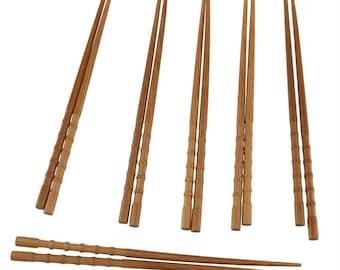 """Premium Grade 9"""" Bamboo Knobby Chopsticks - 6 Sets"""