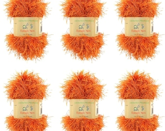 BambooMN Brand - Eyelash Yarn - 50g - 6 Skeins - Burnt Orange