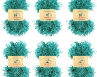 Eyelash Yarn - 6 x 50g Skeins - Teal