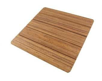 """Large Bamboo Bath Mat Shower Sauna 28"""" x 28"""" Square"""
