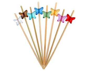 """3.9"""" Decorative Acrylic Butterfly End Bamboo Picks - 9 Assorted Colors"""