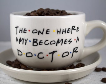 Gift-Personalized Custom Friends TV Show Coffee Mug - 14 OZ CREAM- The One Where (Name) Becomes A (Profession)