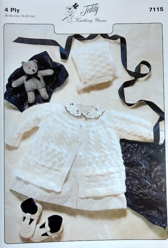 Peluche 4 tejer patrón bebé Matinee juego 7115-4 tamaños