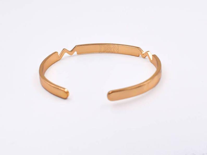 Gold Cuff Bracelet Blanks-Metal Blank-Engraving Bracelet Blank-Cuff Bracelet with Blank Plate-Open Cuff Bangle Bracelet-Heartbeat Cuff